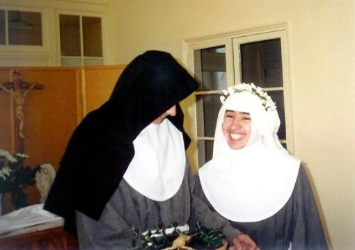 Nun wearing a white veil