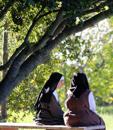 Two nuns talking together